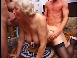 Old slut Norma Has 2 Ramrods to Play With