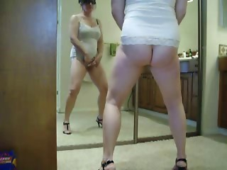 Worthy stolen clip of my mamma masturbating in front of mirror