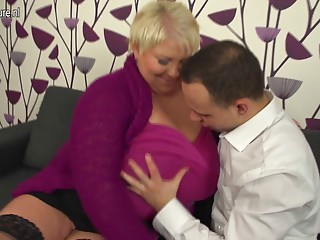 Giant breasted aged Mommy fucking and engulfing her arse off
