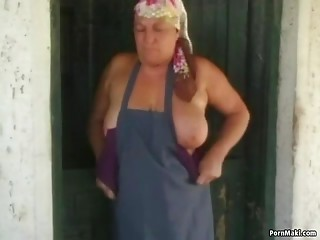 Obese old slut acquires a massive load