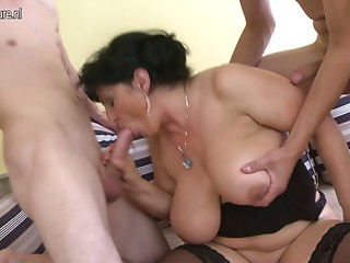 2 youthful weenies for Busty squirting old Mama
