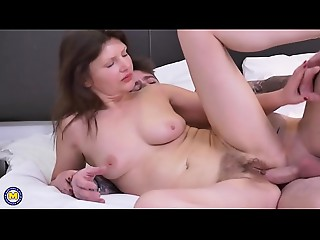 British curly housewife fucking and engulfing