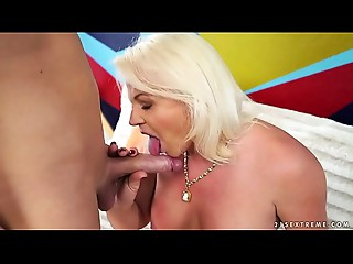 Large assed grandmother Anett riding her lover&#039_s penis