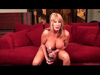 Rae Hart old masturbated with giant marital-device on daybed HD