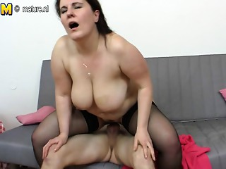 Aged nympho Mommy fucking her son's ally