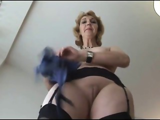 Elder English golden-haired sweetheart in nylons upskirt tease