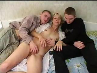 Russian Mother With 2 Guys