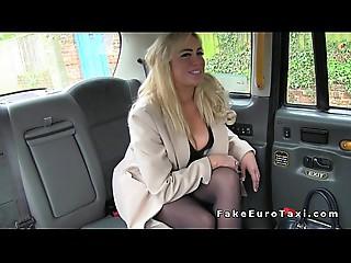 Giant meatballs MILF bonks in hose in fake cab