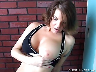 Fit aged spunker frigs her soaking moist cum-hole for u