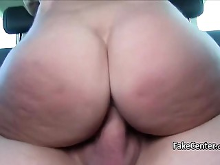 Big breasted cougar rides schlong outdoors
