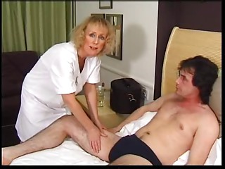 Slender Blond Old bitch Receives Creampie and Facial