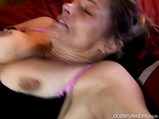 Perverted mature spunker can't live without giant toys &amp_ sticky facial cumshots