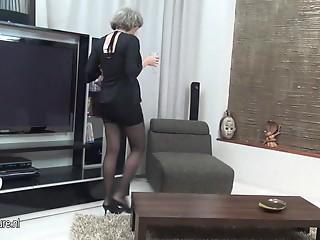 Bigtitted grandma masturbate alone
