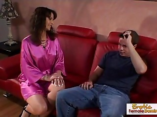 cougar seduces and copulates her sons ally on the couch