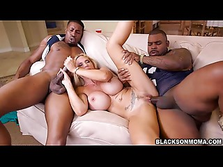 Sexy three-some sex with excited MILF Brooke Tyler