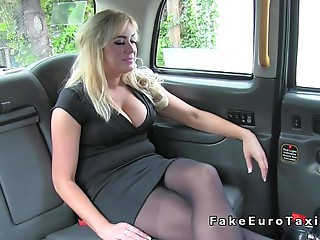 Massive milk cans Cougar anal invasion fingered in fake taxi