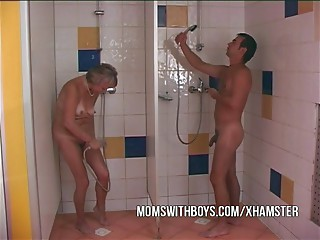 Grandmother and Juvenile Dude In Shower Copulation