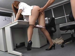 Japanese gorgeous MILF in the office