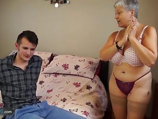AGEDLOVE Grandmother Savana screwed with actually hard stick