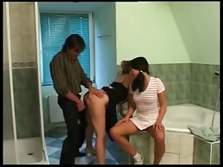 mamma and young slut beauty drilled