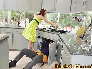 Housewife Huge black meat stuffed in interracial three-some