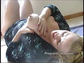 Lactating Mama Spraying Milk from her Large Tits