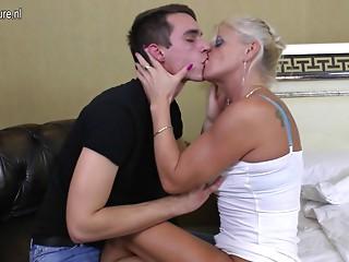 Slender mature old slut fucking and engulfing juvenile lad