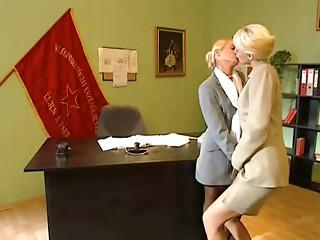 Blond Office Lesbian babes