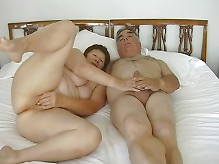 Old Exhibitionist Pair Masturbating with diminutive sex toy
