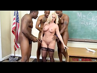 Golden-haired milf Teacher has Huge black meat Dream in Class