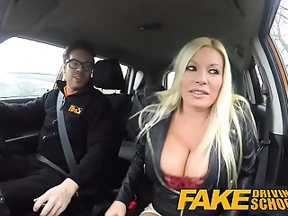 Fake Driving School squirting agonorgasmos big breasted mother I'd like to fuck takes creampie after lesson