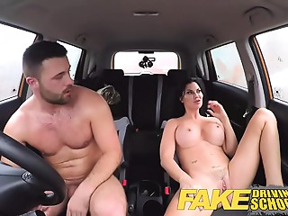 Fake Driving School favourable youthful chap enticed by his breasty MILF examiner