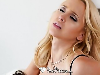 PUREMATURE Breasty elder golden-haired Alix Lynx slobbers and copulates large knob