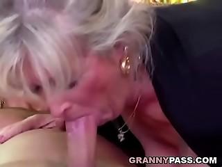 Breasty Grandmother Takes Juvenile Knob