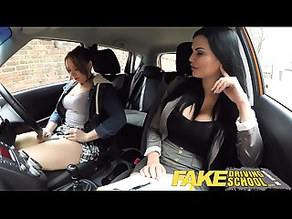 Fake Driving School Daddys gal fails her test with strict breasty old examiner