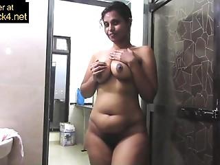 Elder Indian Mamma Pressing Large Desi Melons In Shower Masturbation