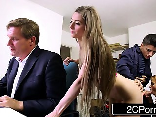 Sneaky Slim Bastard Copulates Boss&#039_s Wife and Daughter - Tarra White, Leyla Morgan