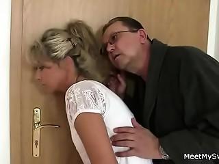 Parents trick their son&#039_s GF into Trio sex
