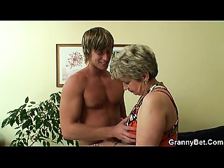 Lonely aged grandma swallows and rides his ramrod