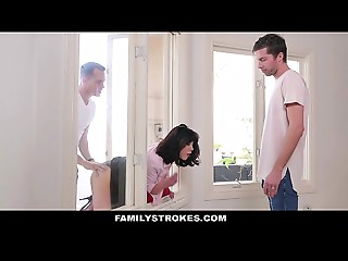 FamilyStrokes - Cougar Stuck &amp_ Screwed By One as well as the other Stepsons