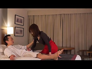 Subtitled CFNM Japanese hotel mother I'd like to fuck massage leads to cook jerking