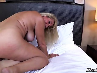 Massive Pantoons Blond Mother I'd like to fuck copulates youthful dick POV
