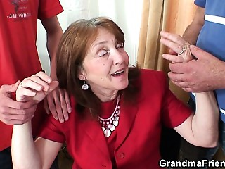Office Threesome with Eighty years elder old bitch in nylons