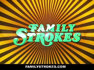 FamilyStrokes - Sexy Cougar Sucks Off Step-Son